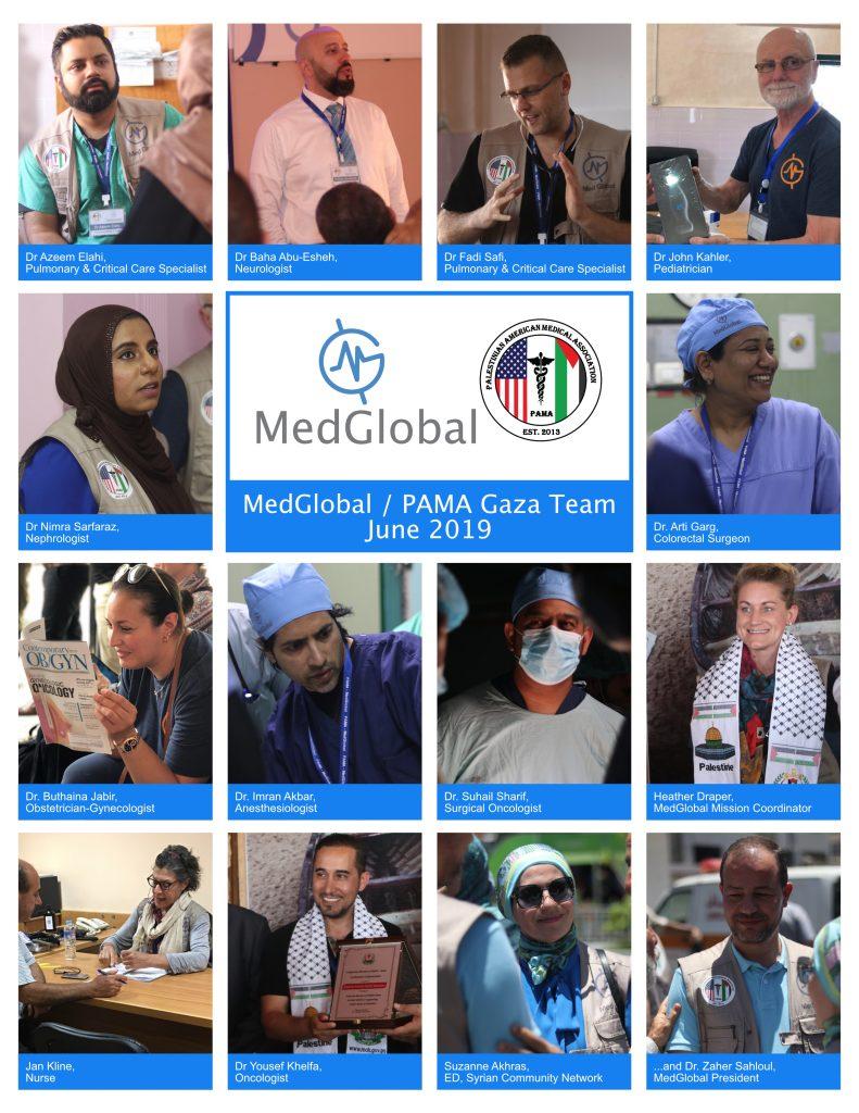 MedGlobal-PAMA team of volunteers in Gaza June 2019