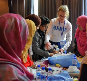 Lia Harris teaching Helping Babies Breathe in Bangladesh