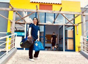 Dr. Yusra Khan entering Moira Camp in Greece