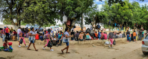 People awaiting services at the border zone just inside Colombia.