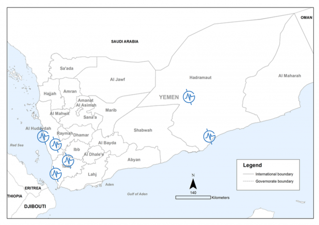 Map of MedGlobal projects in Yemen