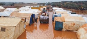 Floods inundated IDP camps in north-west Syria in January 2021.