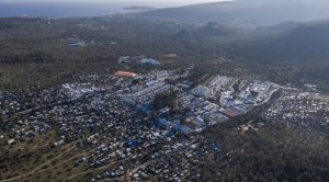 Aerial view of the former Moria migrant camp on Lesbos